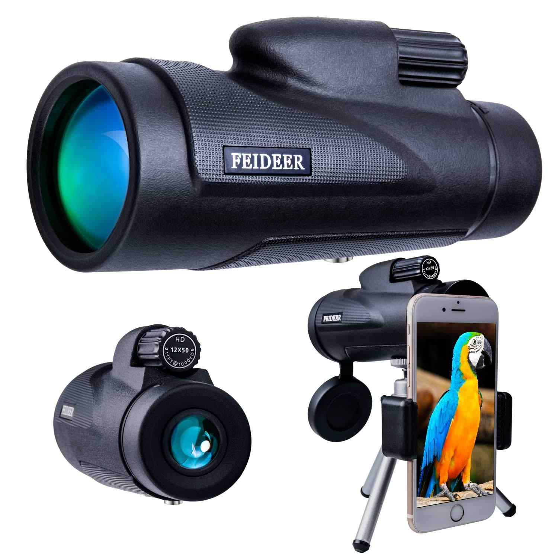 FEIDEER 12x50 Monocular Telescope High-powered HD BAK4 FMC Prism Waterproof Fogproof Shockproof Monoscope With Smartphone Holder and Tripod Low Light Night Vision For Concert Camping Bird watching Etc