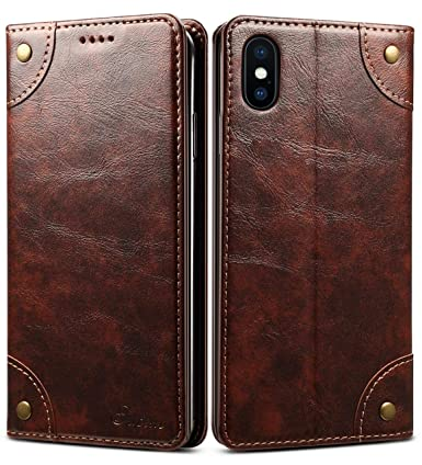 buy popular cc5ae a86c0 iPhone XS Case, iPhone X Case, SINIANL Leather Wallet Folio Case Book  Design Flip Cover with Stand and ID Credit Card Slot Magnetic Closure for  iPhone ...