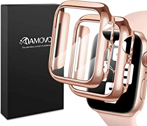 AMOVO [2 Pack] Case for Apple Watch Series 6/5/4/SE 40mm Built-in Tempered Glass Screen Protector [3D Full Coverage] [Anti Scratch] Hard PC Protective Case for iWatch (40mm, Rosegold)