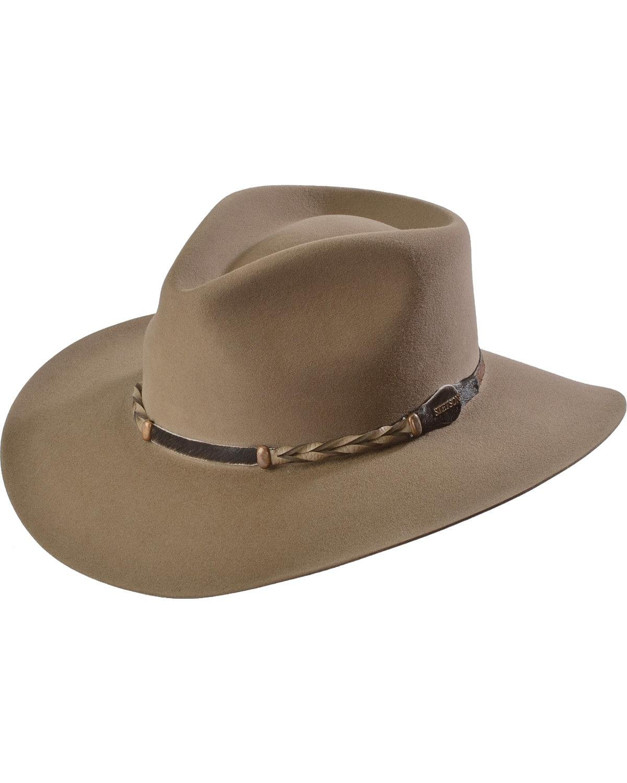 Stetson Men's 4X Drifter Buffalo Felt Pinch Front Cowboy Hat Stone 7 1/4 by Stetson (Image #1)