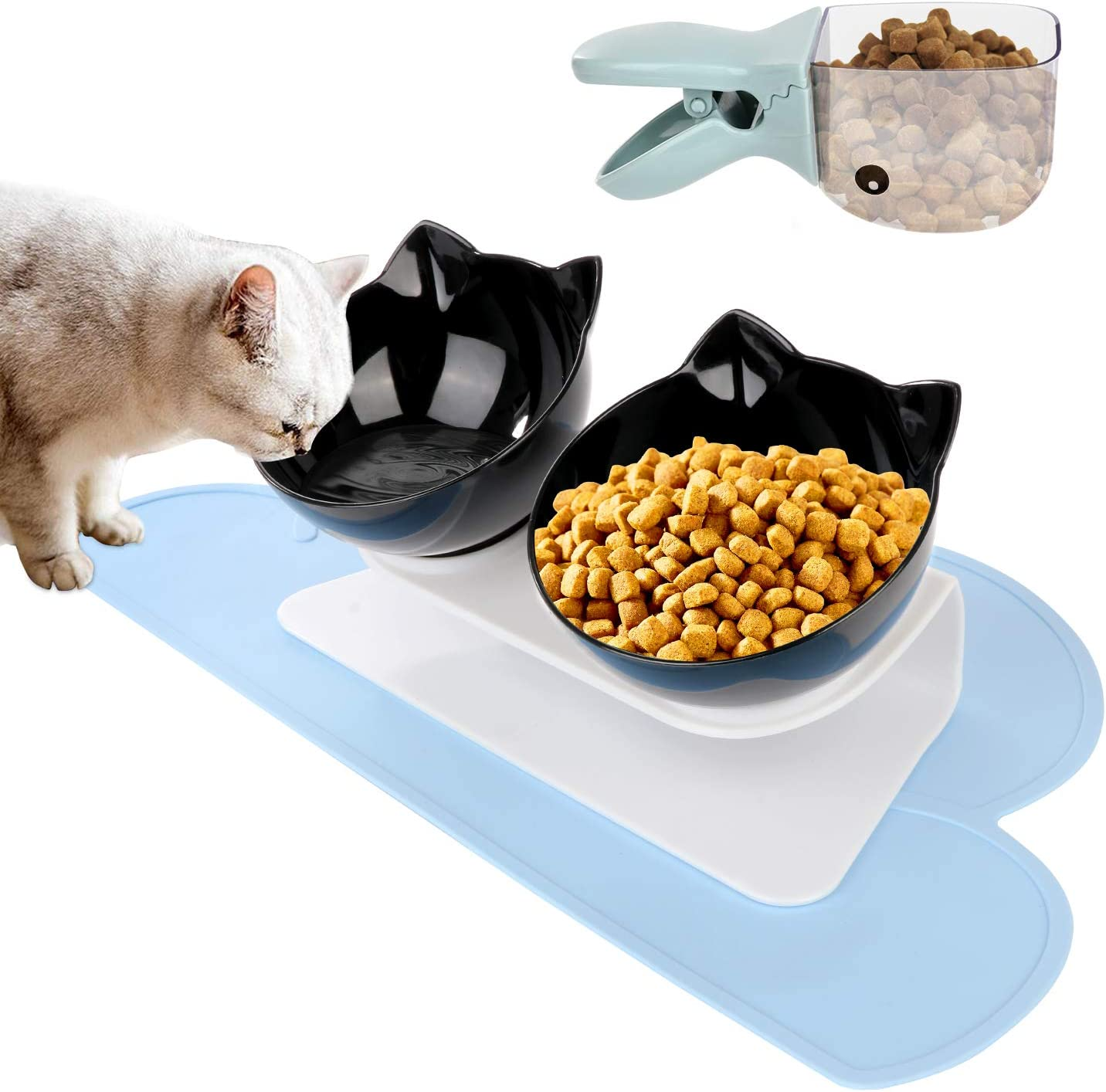 Vikedi Elevated Double Cat Bowl with Feeding Mat and Spoon, Cat Food Water Bowls with Raised Stand, Pet Feeding Bowl | 15° Tilted Raised Pet Feeder Bowl for Cats and Small Dogs (Black)
