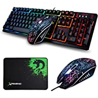 LexonElec® Gaming Keyboard Mouse Combo K13 Wired Rainbow Led Backlit 104 Keys Ergonomic Gamer Keyboard + 2400DPI Adjust 4 Buttons Usb Optical Game Mouse Sets for PC Laptop Computer + Mousepad (Black)