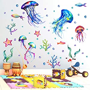 Under The Sea Wall Decals Jellyfish Wall Stickers Fish Starfish Coral Ocean Wall Decals Removable Peel and Sticks for Kids Baby Bedroom Living Room Bathroom Office (Lovely Colors)