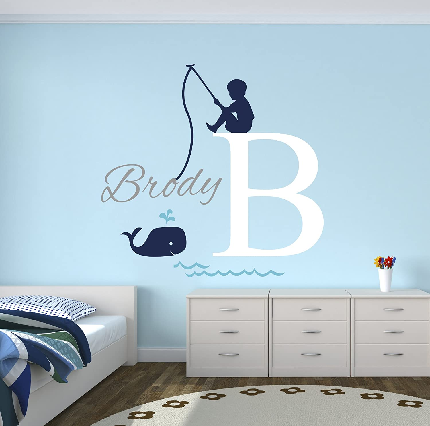 Fishing Boy Personalized Name Wall Decal - Baby Boy Room Decor - Nursery Wall Decals - Nautical Wall Decals - Whale Vinyl Wall Sticker