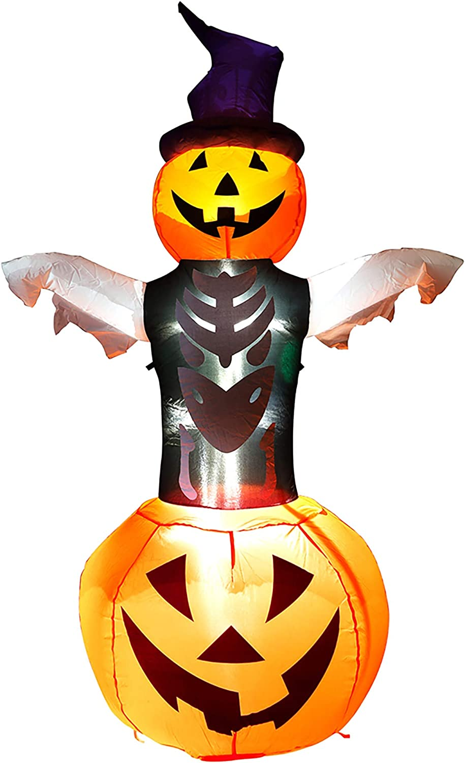 yofit 5 FT Halloween Inflatable Ghost Decoration, Airblow Lighted Yard Garden Decor with Bright LED Lights for Amusement Parks Restaurants Shopping Malls Halloween Decorations