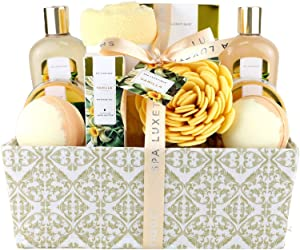 Spa Luxetique Spa Gift Basket, Bath Sets for Women, Luxury 12 Pcs Bath Gift Box, Relaxing at Home Bath Set Scented with Vanilla Includes Bath Salts, Bath Bombs, Body Scrub, Best Spa Gift for Women.