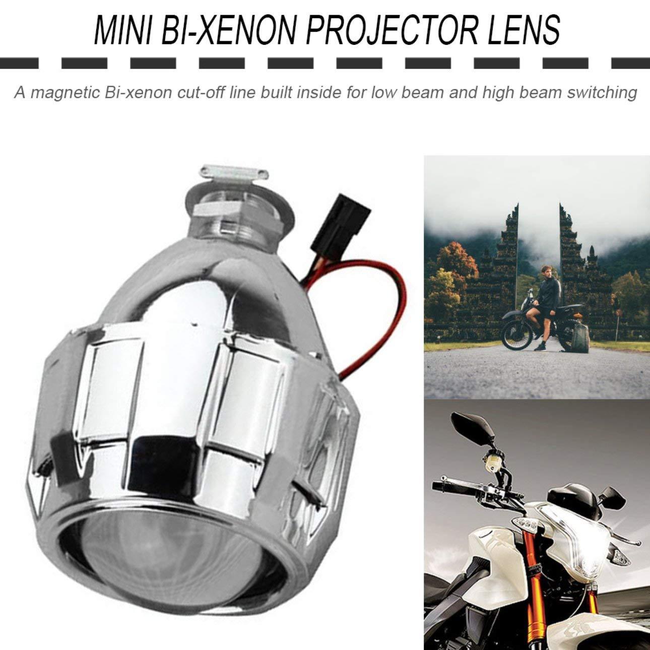 Ballylelly 2.5 Pollici Xenon Mini Bi-Xenon HID Trasparente Proiettore Copriobiettivo Copertura Faro Faro Personalizzato H1 H4 H7 Argento