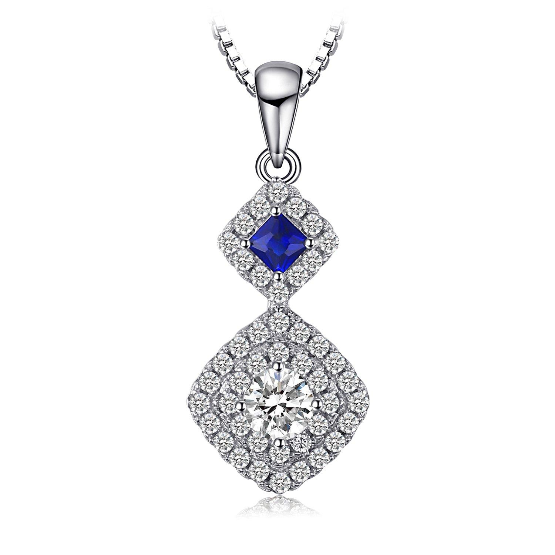 JewelryPalace Schönes Quadrat Geschaffenes Saphir-hängende Halskette 925 Sterlingsilber 18 Zoll EU-AP605563N18