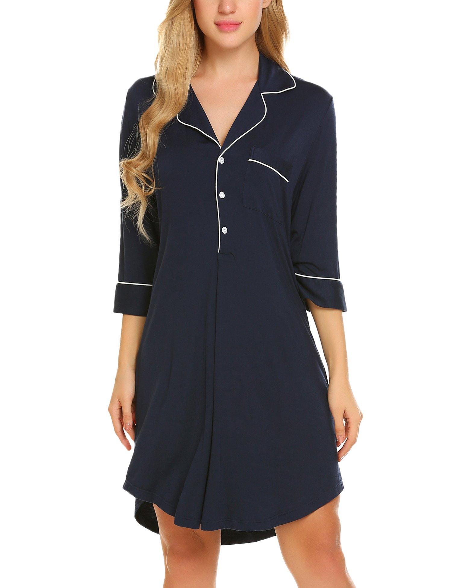 Ekouaer Boyfriend Style Sexy Cotton Nightgown Sleep Shirt For Women,Navy Blue(3/4 Sleeve),Small