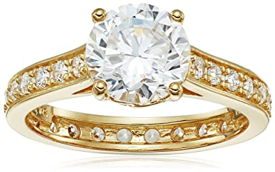 Amazoncom 18k Yellow Gold Plated Sterling Silver Cubic Zirconia