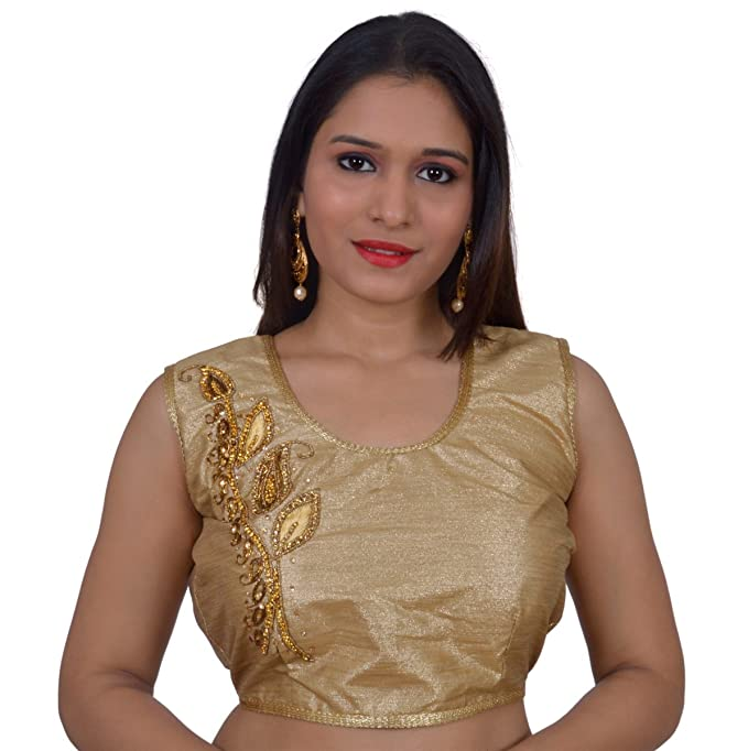 Amazon.com  Areum Gold Embroidered Sleeveless Back Open padded Readymade Saree  Blouse For Women  Clothing