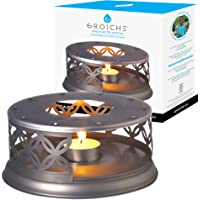 GROSCHE Teapot Warmer and Dish Warmer. for All heatproof Borosilicate Glass Tea pots and heatproof Dishes. Bronzed Steel Warmer for teapots and Dishes.