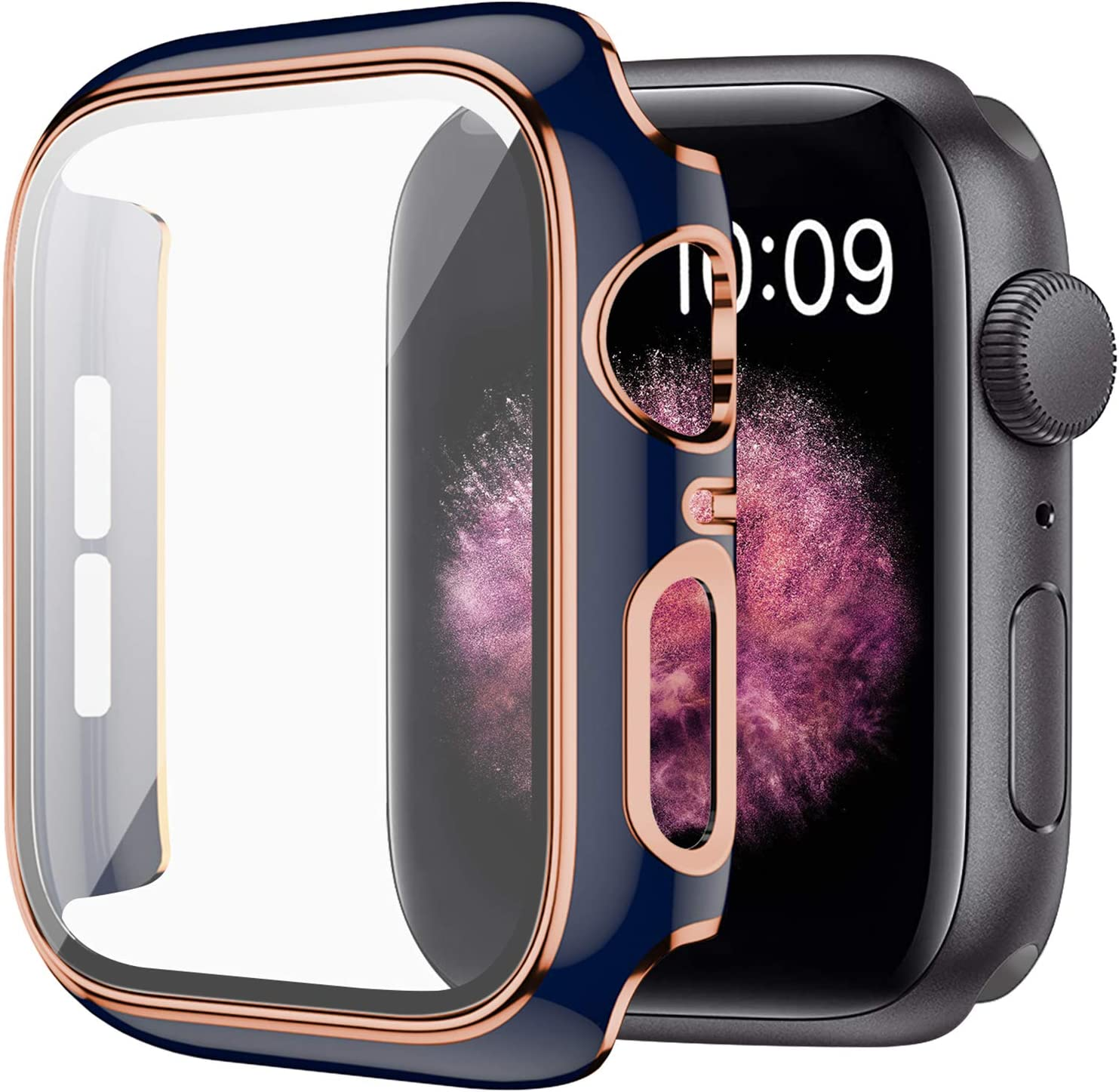 WETAL Hard Protective Cover Compatible with Apple Watch Case Series 6 / SE / Series 5 / Series 4 40mm 44mm with Built in HD Clear Tempered Glass Screen Protector (44mm Blue)
