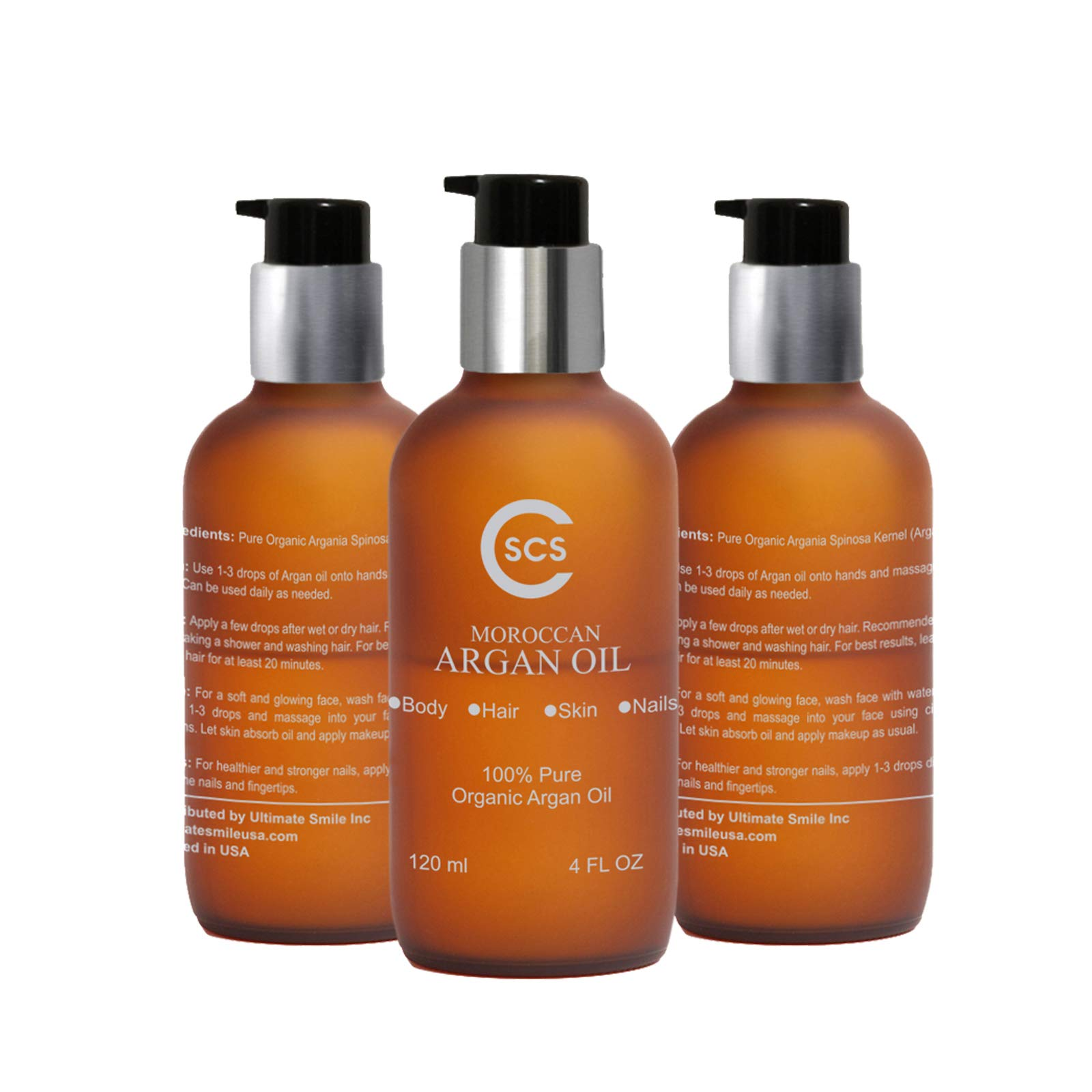CSCS Pure Organic Moroccan Argan Oil for Hair and Skin — Promotes Soft, Supple Skin — Strengthens Hair and Nails — All-Natural & USDA Certified