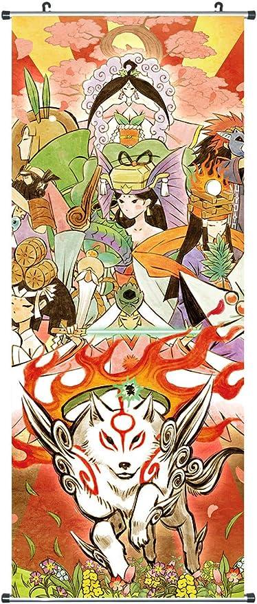 Amaterasu CoolChange Gro/ßes Okami Rollbild I Kakemono aus Stoff I 100x40cm I Motiv