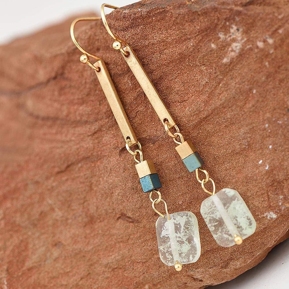Ludage Earrings, Alloy Earrings 54mm European and American Fashion a Font of Natural Stone Pendant Pole Jane Earrings