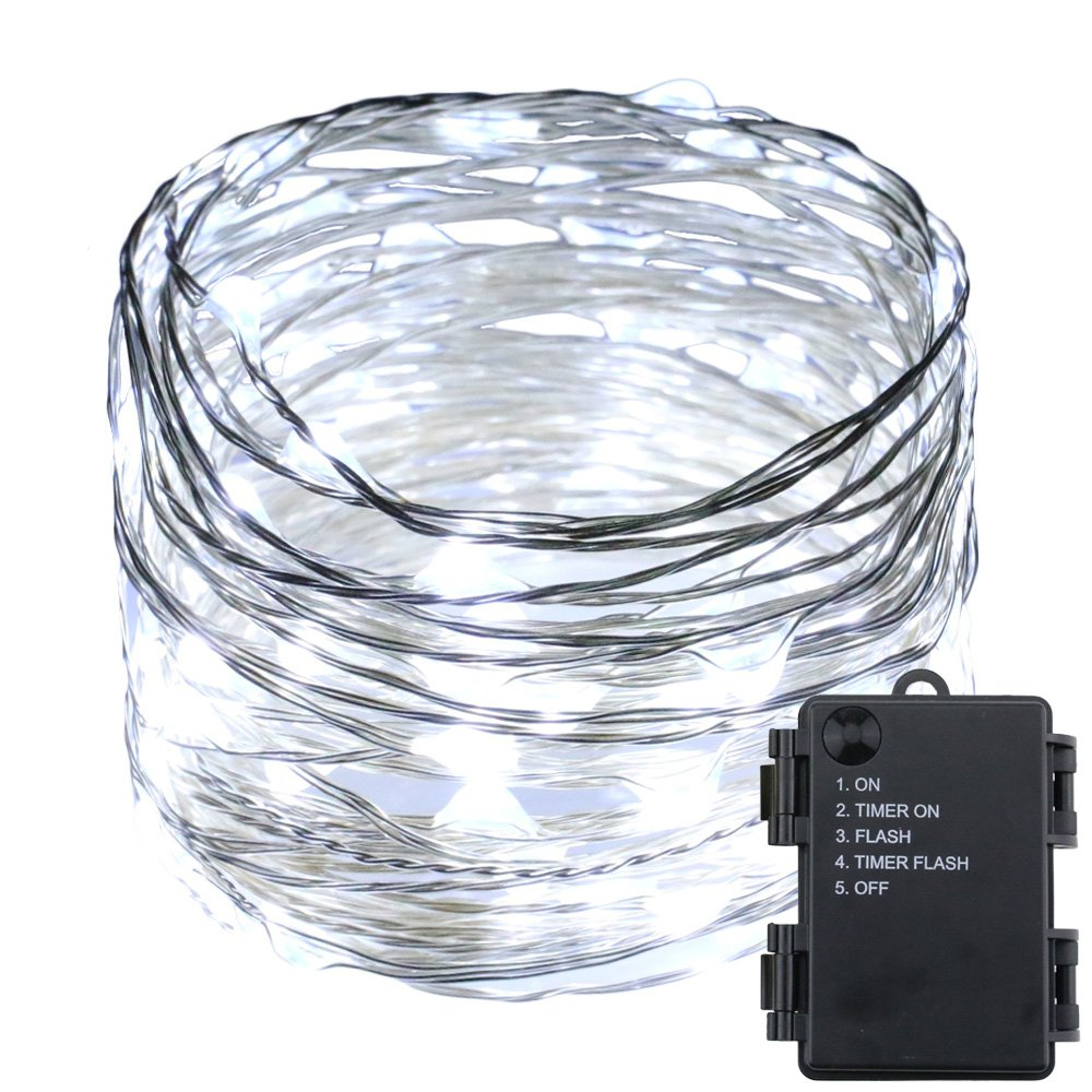 RUICHEN  イルミネーションライト 銀線防水 10m100 LED ストリングライト 電池式  5モード ベッド、庭、ベランダ、屋内屋外、 ハロウィン、クリスマス、結婚式、バー、パーティー、誕生日、新年、祭り、商店街、告白、家庭用飾り(ホワイト) B06ZZJ3CLJ 14776  レッド