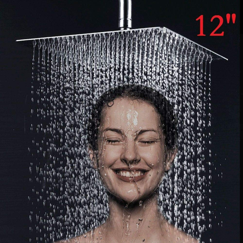 "12/"" Shower Head Square Rainfall High Pressure Stainless Steel Ultra Thin Shower Adjustable Rainfall Showerhead Full Body Cover"