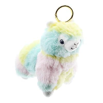 """JFH 5"""" Rainbow Fluffy Alpaca Llama Plush Stuffed Animal Key Ring / Bag Clip (5 Inch Keychain): Toys & Games"""