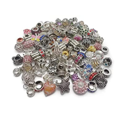 e34a225c3 Truly Charming Job Lot Wholesale 100 x Charms Beads for Pandora Style  Silver Charm Bracelets Jewellery Making: Amazon.co.uk: Jewellery