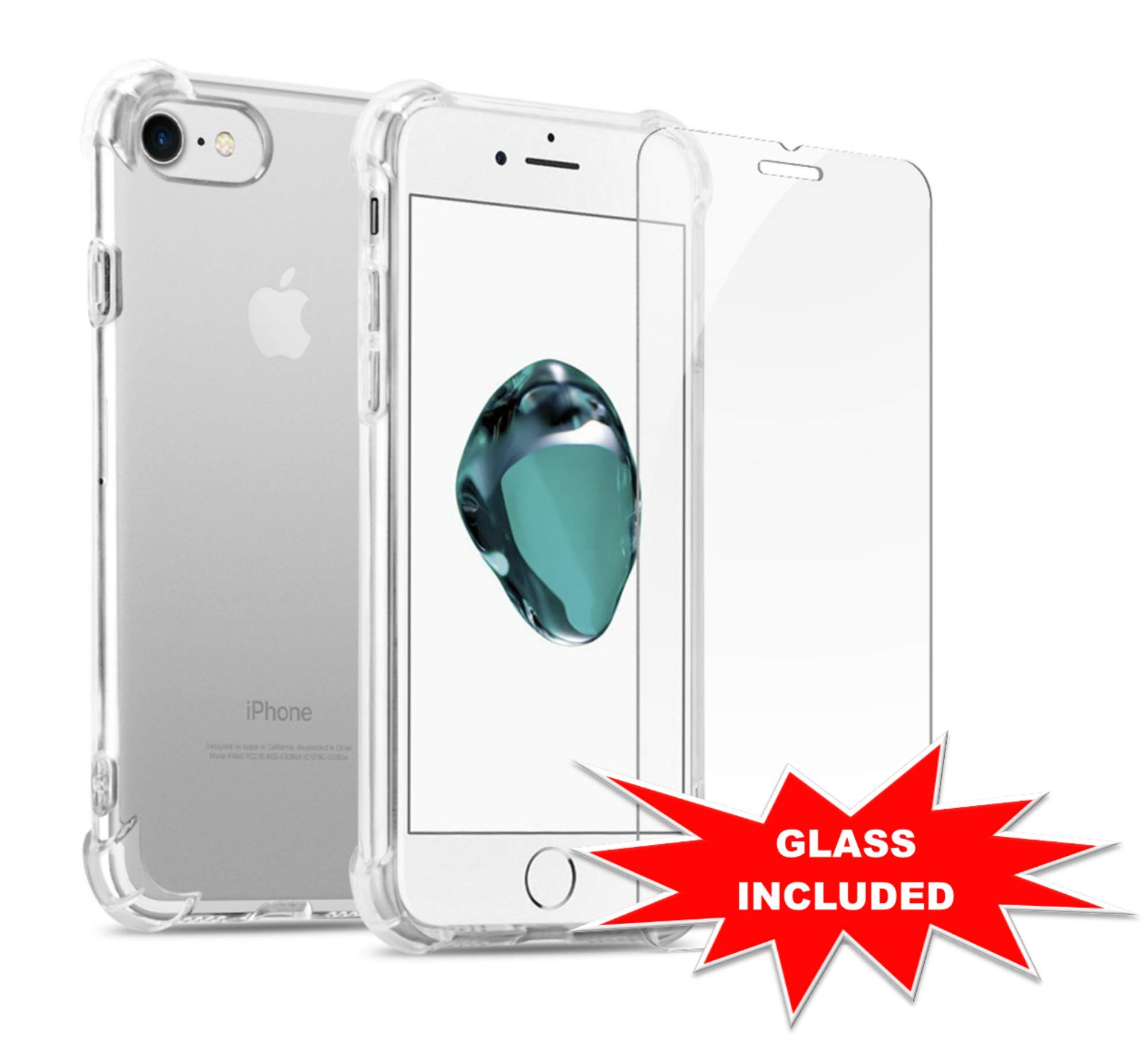 GuaGua Case for iPhone 7 Plus, iPhone 8 Plus with Tempered Glass, Protective Shock Absorption Bumper, Soft TPU Cover Skin, Built-in Screen Protector - Clear