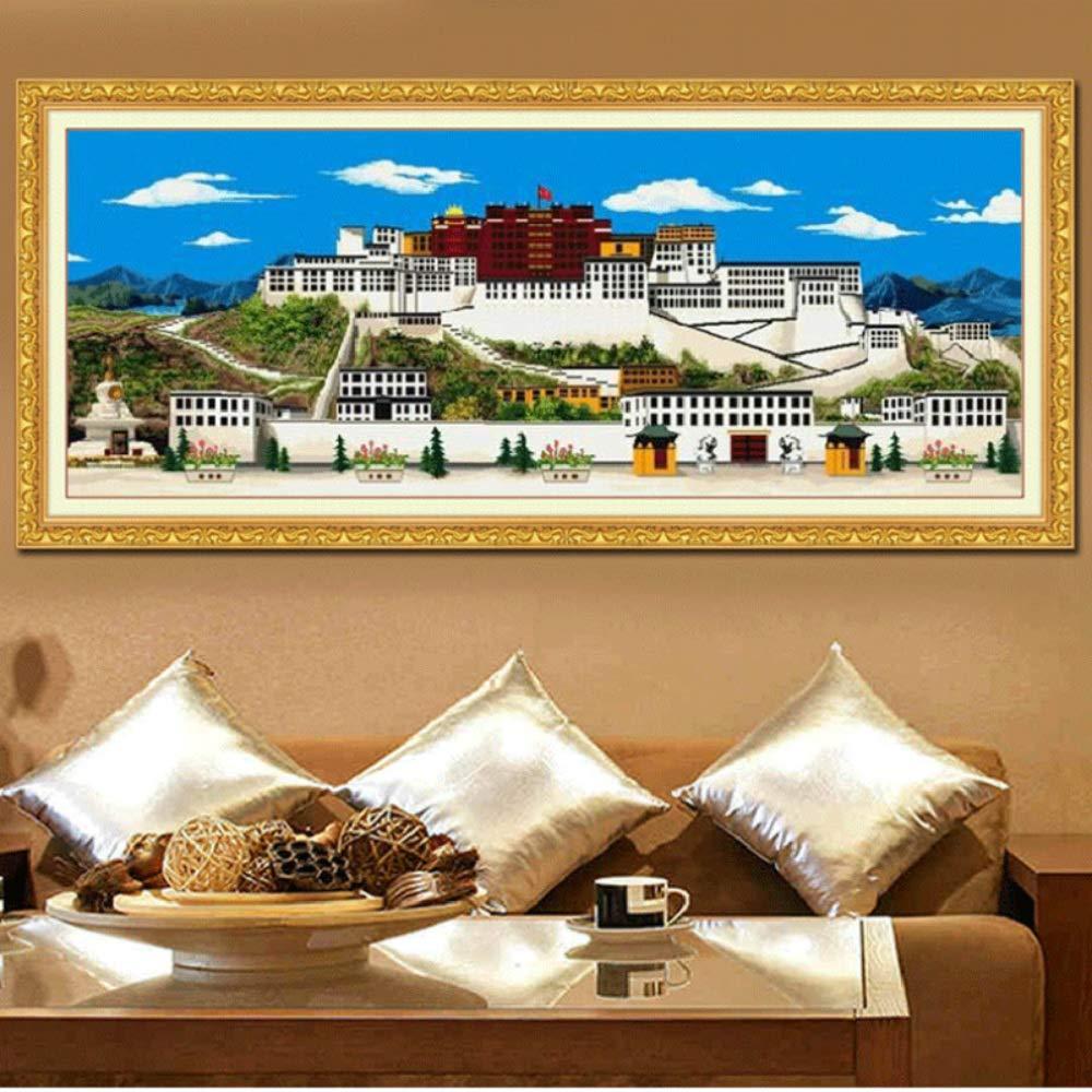 Faraway Potala Palace Full Round Diamond Painting DIY 5D Tibet Lhasa Religious Buddhism Mosaic Kits Rhinestone Painting for Wall Decor 120x50 cm