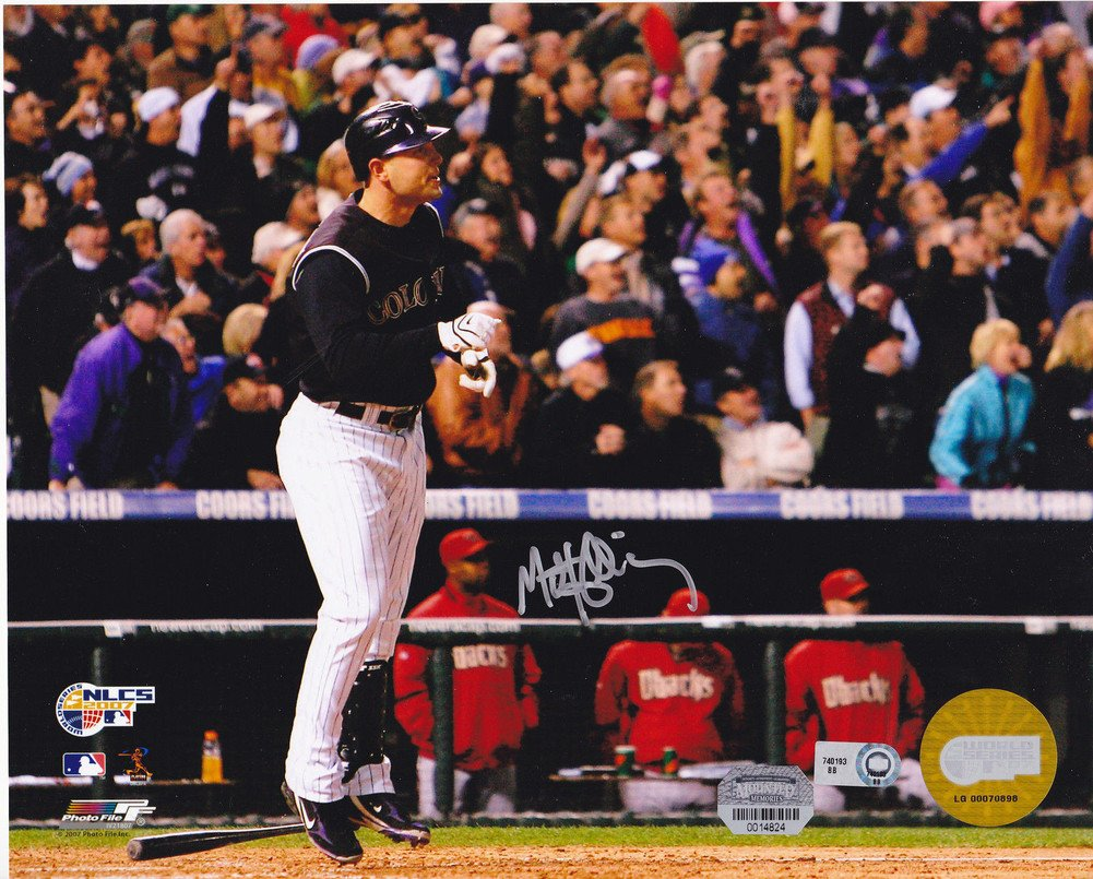 Matt Holliday Colorado Rockies 2007 Ws MLB Certifiedated Action Signed Autographed 8x10 - Certified Certified