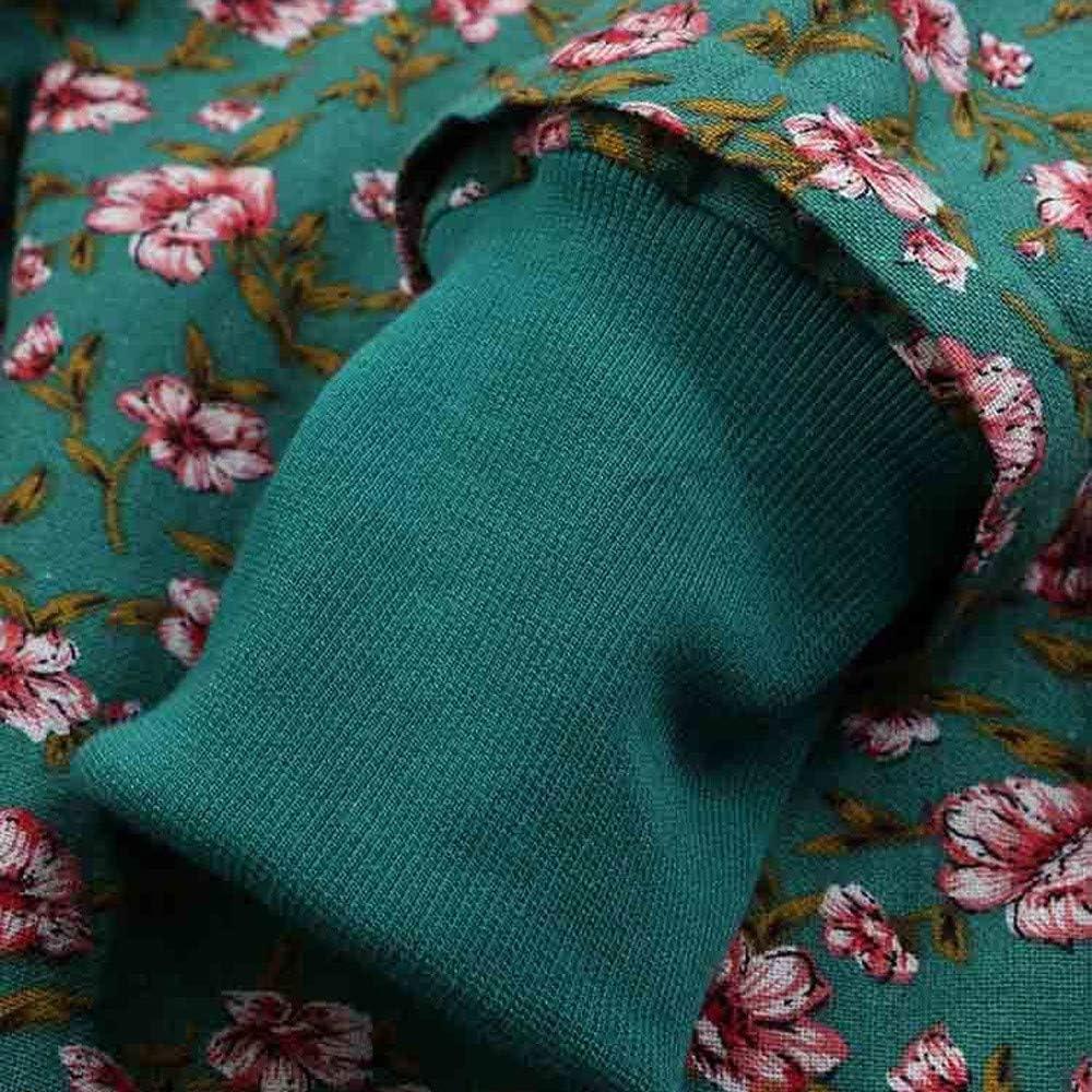 JOFOW Womens Jacket Parka Boho Floral Print Hooded Warm Fleece Lined Long Loose Coats Winter Plus Size XXXL
