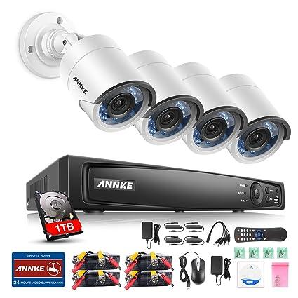 Annke 1080 P Kit videovigilancia DVR 8 canales 4 Cámara de vigilancia 2 Mega sistema de