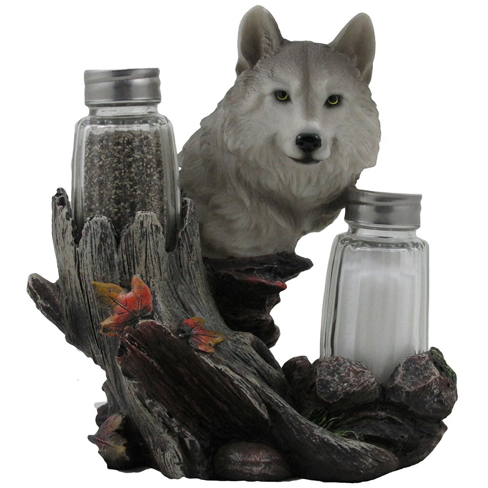 Decorative Gray Wolf Glass Salt and Pepper Shaker Set with Holder Figurine for Cabin and Rustic Lodge Restaurant Bar or Kitchen Table Decor, Wildlife Animal Collectibles & Wolves Sculptures As Gifts