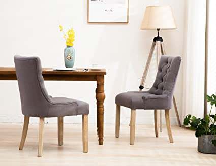 Charmant Formal Tufted Upholstered Dining Chairs, Rustic Linen Wingback Dining Room  Chair Set Of 2 With