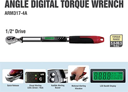 AC Delco ARM317-4A 1//2 Inch Digital Angle Torque Wrench 5.0-99.5 ft-lbs
