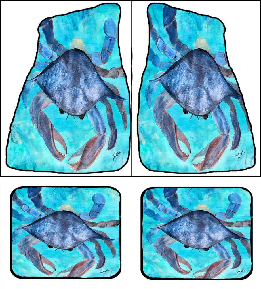 Blue Crab Art Auto Car Floor Mats