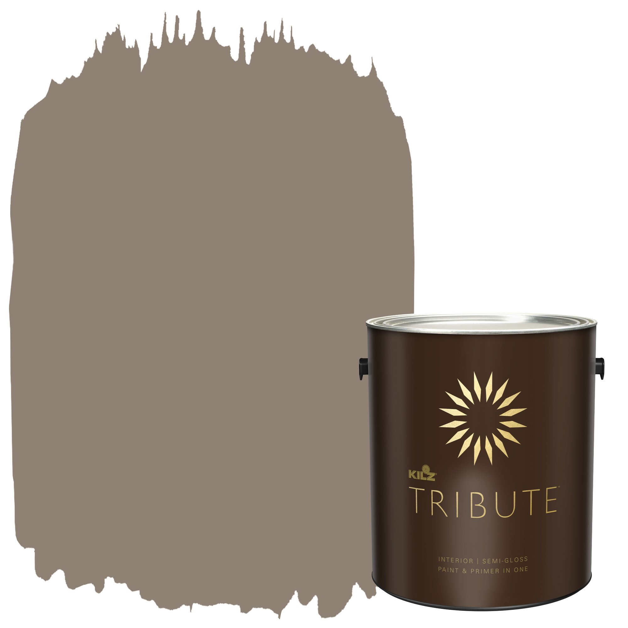 KILZ TRIBUTE Interior Semi-Gloss Paint and Primer in One, 1 Gallon, Cobblestone Streets (TB-19)