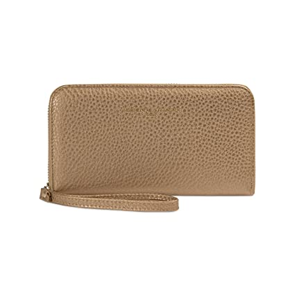 Adrienne Vittadini Charging Wristlet Wallet: Smartphone Zip Wallet Case with Phone Battery Charger Power Bank for Women and Girls - Gold Pebble
