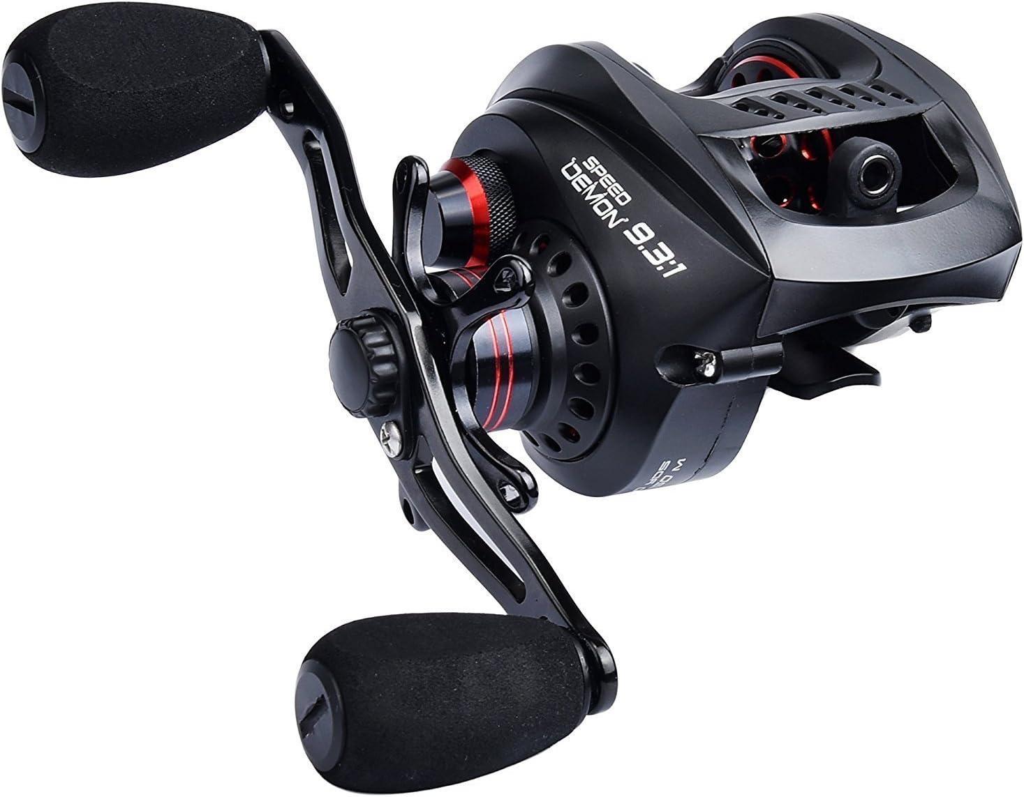 KastKing Speed Demon 9.3:1 Baitcasting Fishing Reel – Worlds Fastest Baitcaster – 12+1 Shielded Ball Bearings – Carbon Fiber Drag.
