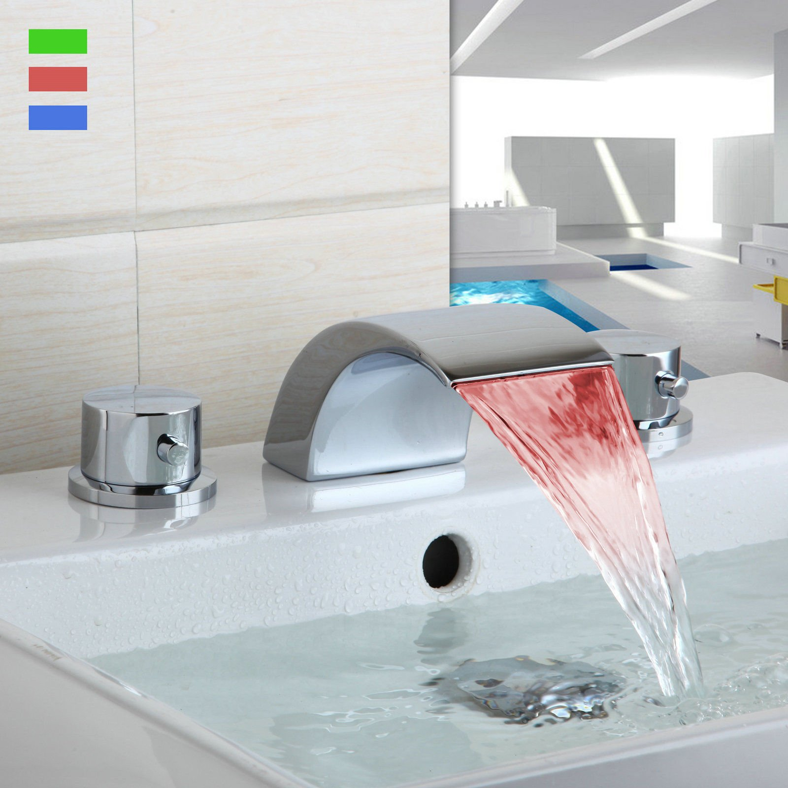 Miefocit Modern Bathroom LED Waterfall Faucet Bathtub Widespread Basin Sink Mixer Tap Double Handles Faucet Set
