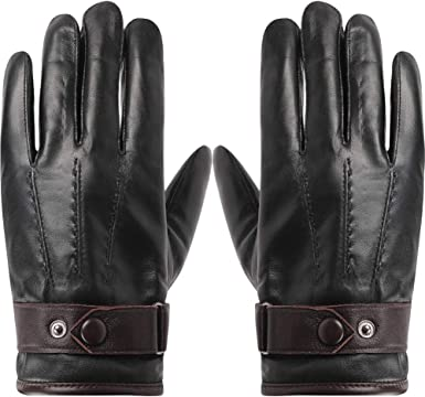 leather glove unisex size medium great quality colour black fleece lined