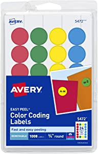 Avery Assorted Colors (Blue, Green, Red, Yellow) Removable Print or Write Color Coding Labels, 3/4