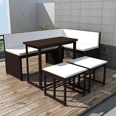 Tidyard Conjunto Muebles de Jardín de Ratán 12 Piezas con Mesa Plegable y Cojines con Correa de Fijación,Sofa Exterior para Jardín Patio Terraza,Ratán Sintético Marrón: Amazon.es: Hogar