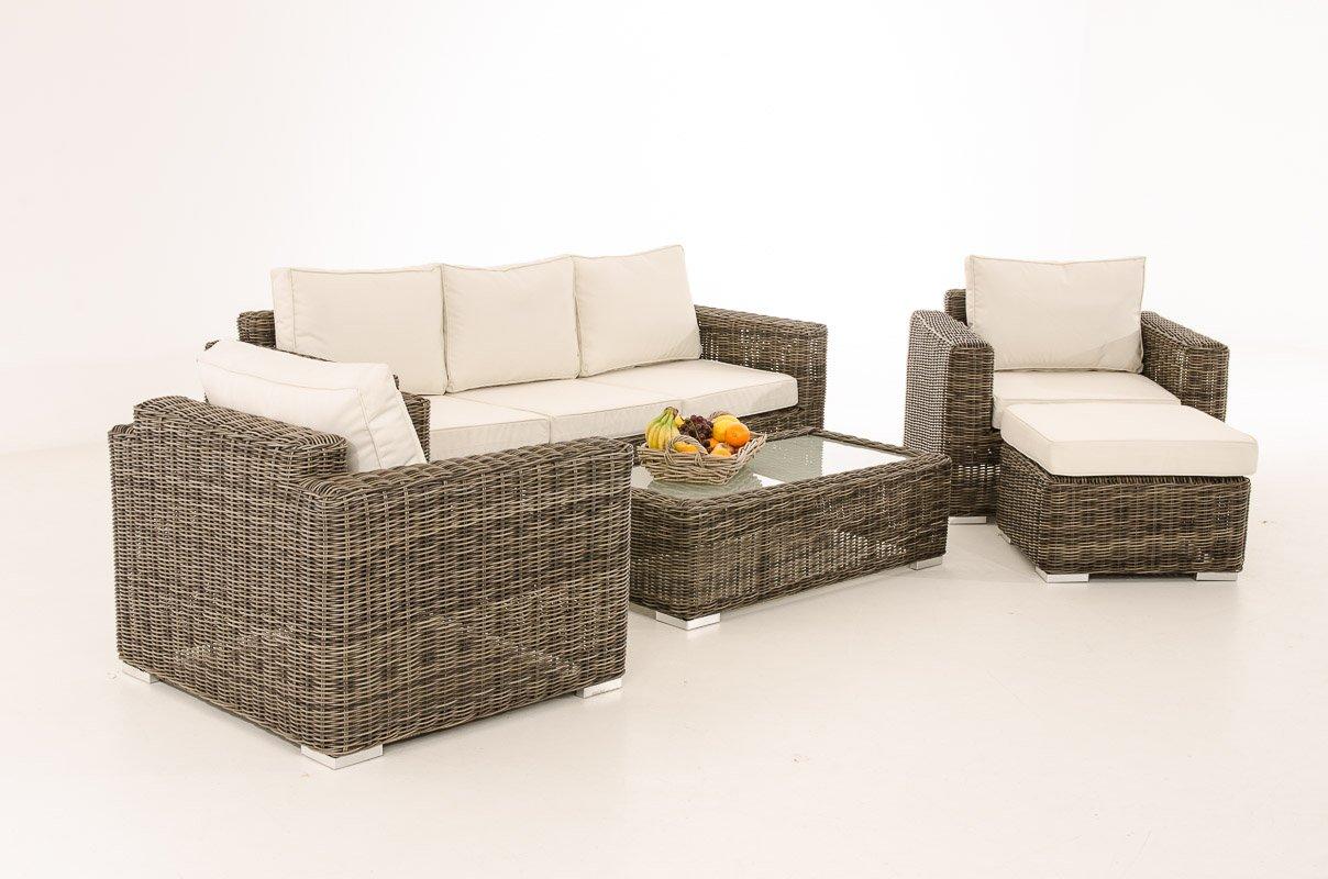 Mendler 3-1-1 Gartengarnitur CP053 Sitzgruppe Lounge-Garnitur Poly-Rattan ~ Kissen cremeweiß, grau-meliert