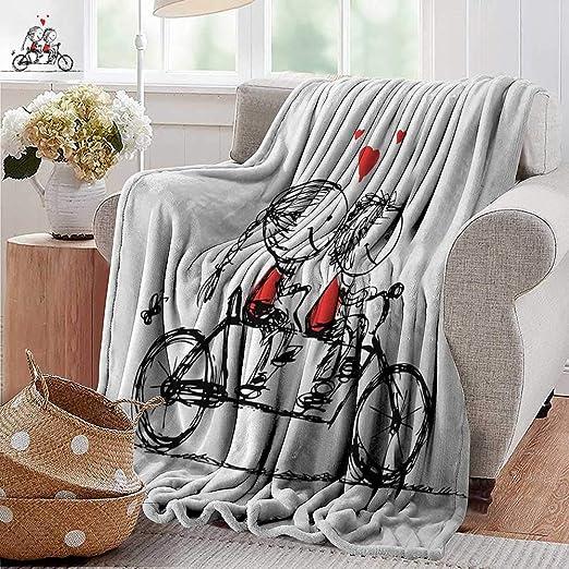 XavieraDoherty Manta de Franela, Bicicleta, Dibujo Negro de Flores de Transporte de Bicicleta y Hojas de Margaritas y Estrellas, Color Blanco y Negro, Peso Ligero, para Sala de Estar o Dormitorio: Amazon.es: