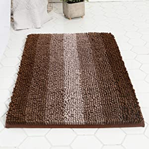 LOVEHOME Thick Chenille Shower Mat,Non-Slip Absorbent Striped Gradient Bath Mat Plush Long Floor Rug for Tub Bathroom A 4560cm(1824inch)