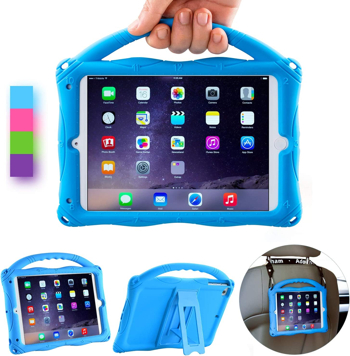 Adocham Kids Case for iPad Mini 5 4 3 2 1, Lightweight and Full-Body Shockproof Silicone Case Cover with Built-in Foldable Kickstand and Grip Handle (Blue-1)