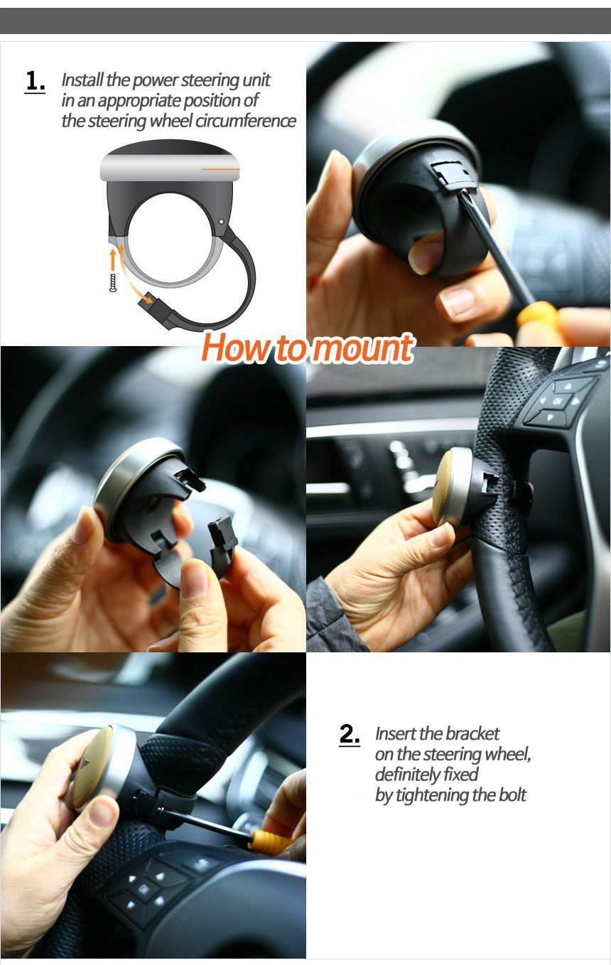 Black GotoShop Mini Power Handle Steering Wheel Spinner Knob for All Car