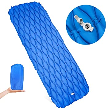 Crewell - Saco de Dormir Ultraligero Hinchable para Acampada, ultracompacto, Azul: Amazon.es: Deportes y aire libre