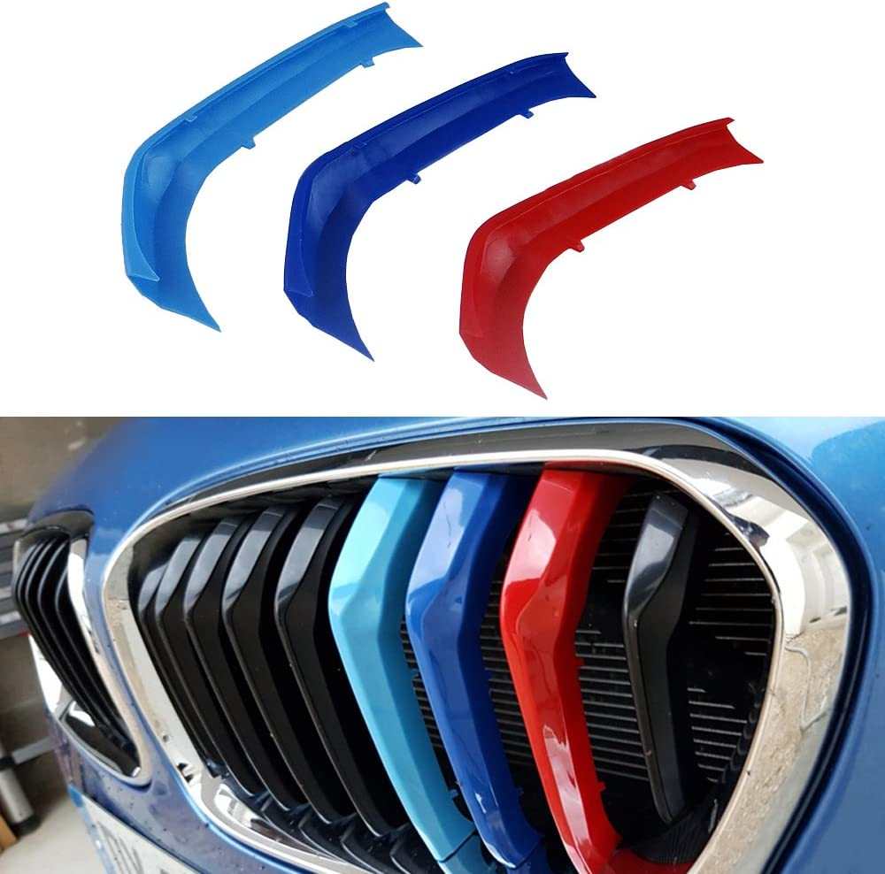 Muchkey for BMW 1 Series 116i 118i 120i 2015-2017 Car Front Grille Insert Trims 3D M Styling Grill Cover Insert Trim Clips 3Pcs 9Grilles one Side