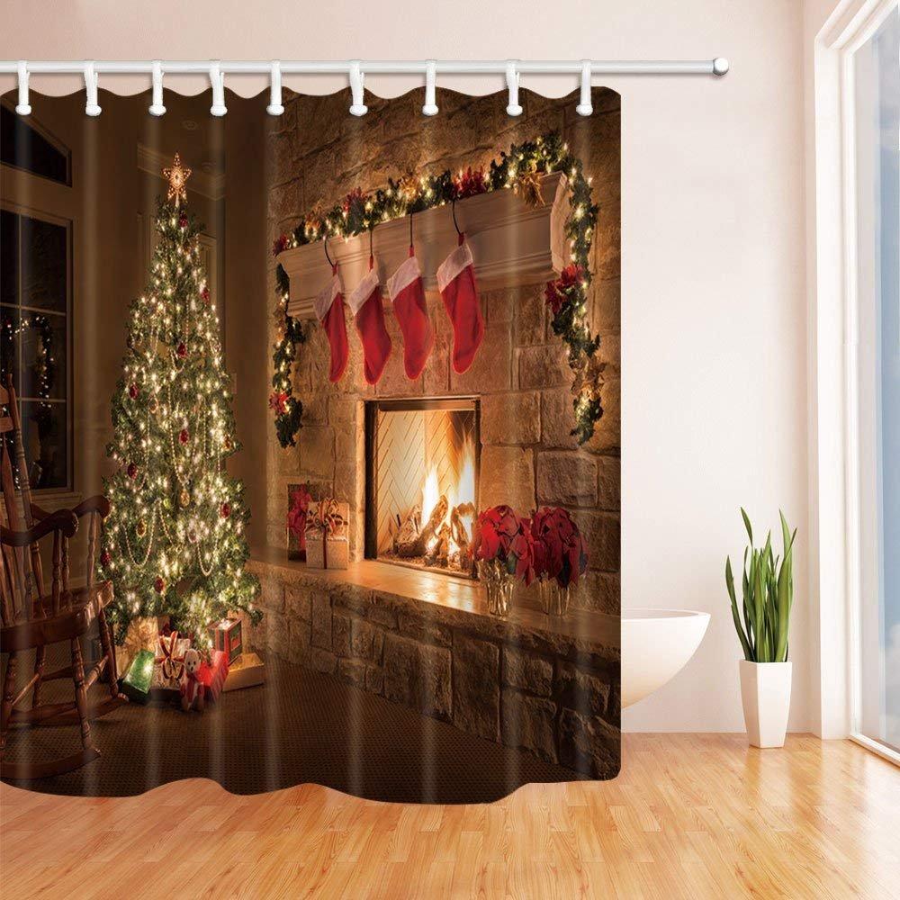 CDHBH Weihnachten Dusche Vorhänge Kiefer Baum Kamin Kater Polyester ...