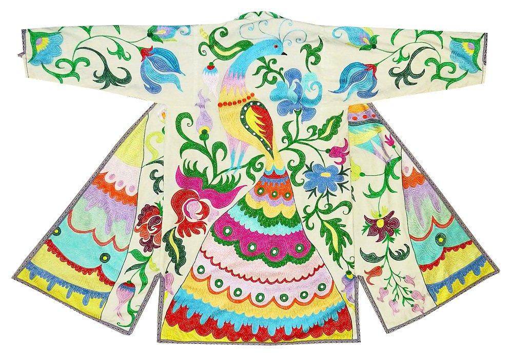 special stitching uzbek traditional uzbekistan outwear costume kaftan caftan robe jacket coat unisex silk embroidered b998