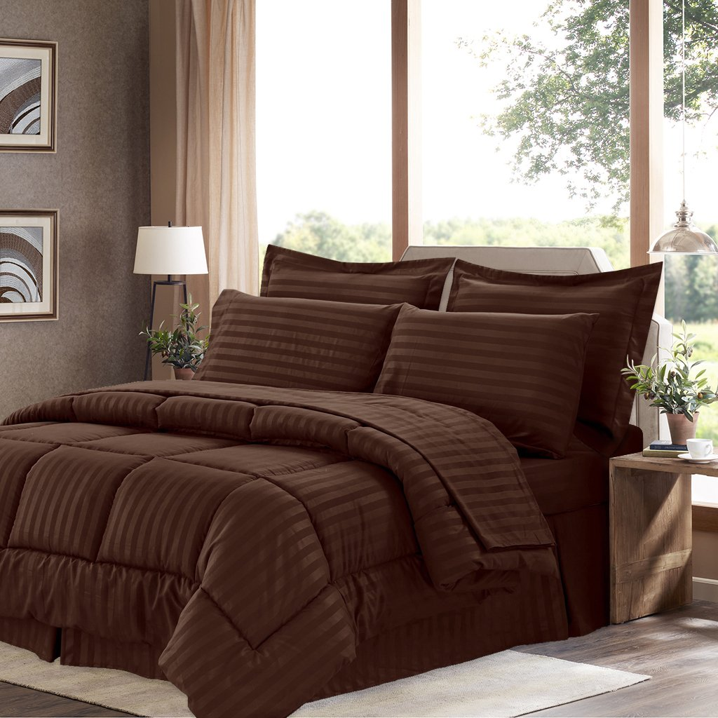Sweet Home Collection 8 Piece Bed In A Bag with Dobby Stripe Comforter, Sheet Set, Bed Skirt, and Sham Set - Queen - Chocolate